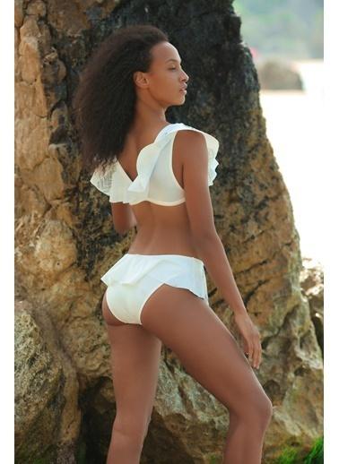 Deep Beach Volanlı Taşlı Bikini Altı Ekru